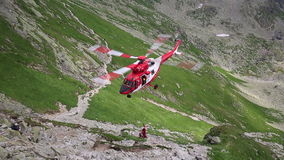 Tatra Mountains,Poland - JULY 4, 2015:Rescue helicopter in the tatra mountains stock video