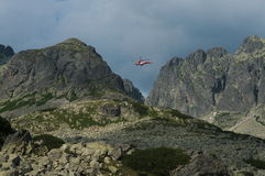 Tatra Mountains. Rescue helicopter in  the Valley of Five Polish Lakes Royalty Free Stock Photo
