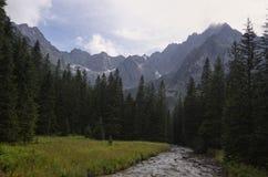 Tatra Mountains. River and summits in Tatra Mountains royalty free stock image