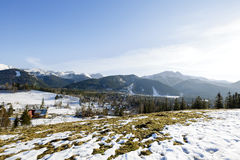 Tatra mountains seen far from city of Zakopane Royalty Free Stock Images