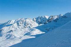 Tatra mountains in the snow. The rocky peaks of the Tatra Mountains in winter Royalty Free Stock Image