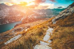 Tatra mountains sunset. A path somewhere in Tatra mountains, Poland Stock Images