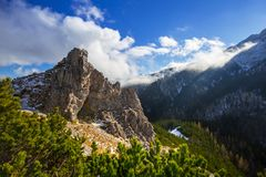 Tatra mountains view from the top of Sarnia Skala Royalty Free Stock Images