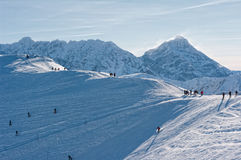 Tatra Mountains in winter. People on the snow-covered peaks of the Tatra mountains Stock Images