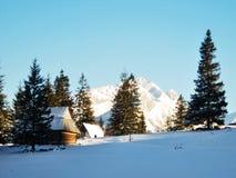 Tatra mountains wooden house Royalty Free Stock Photo