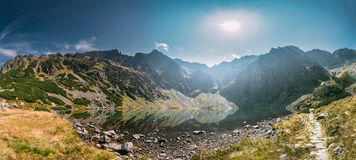 Tatra National Park, Poland. Lake Czarny Staw Under Rysy And Sum. Tatra National Park, Poland. Calm Lake Czarny Staw Under Rysy And Summer Mountains Landscape stock photos