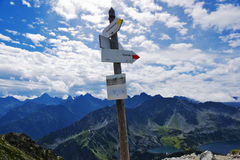 Tatra panorama from the mountain pass routes Krzyżne and signpost Stock Photo