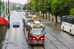 Tatra T3R. PRAGUE, CZECH REPUBLIC - JULY 21, 2014: Tramway Tatra T3R at the city street Stock Image