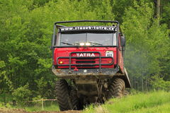 Tatra truck in an offroad race Stock Photos