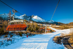 TATRANSKA LOMNICA, SLOVAKIA, 23 DEC 2015: Cable car at a popular Stock Image
