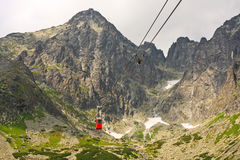 Tatras cable car. Panorama view of Tatras mountains with tram to the Lomnicky Stit Royalty Free Stock Images