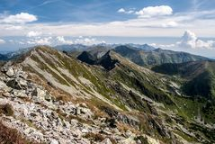 Tatras mountain range panorama in Slovakia. Spectacular panorama of Tatras mountain range from Banikov peak in Rohace mountain group in Slovakia during nice day royalty free stock images