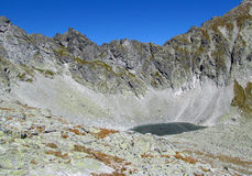 Tatras rocky peaks and green valley of Tatra mountains in Slovak Royalty Free Stock Image