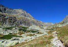 Tatras rocky peaks and green valley of Tatra mountains in Slovak Royalty Free Stock Images