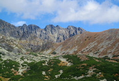 Tatras rocky peaks and green valley of Tatra mountains in Slovak Royalty Free Stock Photo