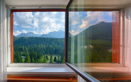Tatras from window at day Stock Photography