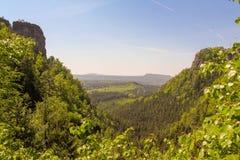 Tatrasbergen door groene pijnboombossen worden behandeld, Tsjechische Republiek die stock afbeelding