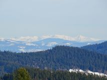 Snowy landscape Beskydy and Tatras royalty free stock image