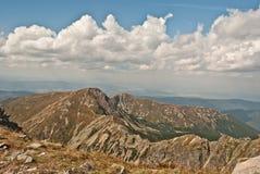 Tatry bergpanorama från det Spalena maximumet i Rohace Arkivfoto