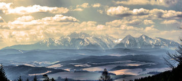 Tatry mountains. Blue landscape view stock image