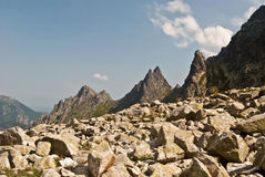 Tatry mountains panorama during hiking to Rysy peak Stock Photography