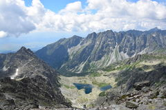 Tatry, Slovakia. A beautiful view from Rysy, on of the highest mountains of Tatry in Slovakia, Zabi pleso Stock Photo