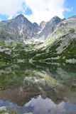Tatry, Slovakia. Beautiful view on see in Tatry, Skalnate pleso, Lomnicky stit, Slovakia Stock Photos