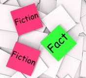 Tatsachen-Fiktions-Haftnotiz-Anmerkungs-Durchschnitt korrekt oder Unwahrheit lizenzfreie abbildung