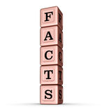 Tatsachen-Wort-Zeichen Vertikaler Stapel von Rose Gold Metallic Toy Blocks Lizenzfreies Stockfoto