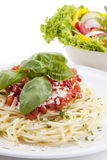 Tatsty fresh spaghetti with tomato sauce and parmesan  Stock Images