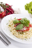 Tatsty fresh spaghetti with tomato sauce and parmesan  Royalty Free Stock Images