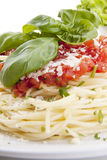 Tatsty fresh spaghetti with tomato sauce and parmesan  Stock Photos