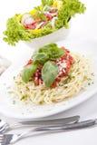 Tatsty fresh spaghetti tomato sauce and parmesan Stock Images