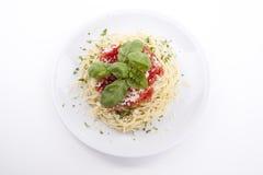 Tatsty fresh spaghetti tomato sauce and parmesan Stock Image