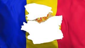 Tattered Andorra flag. White background, 3d rendering stock illustration
