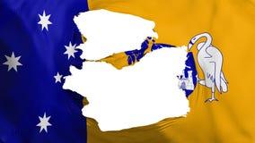 Tattered Canberra flag. Tattered Canberra, capital of Australia flag, white background, 3d rendering royalty free illustration