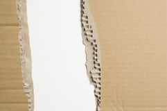 Tattered cardboard on white background. The surface of the cardboard box Royalty Free Stock Photography