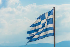 Tattered Greece Flag Stock Photo