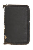 Tattered, Old Rough Leather Book  Cover Inside. The inside of a deeply textured and very worn old black leather book cover. Old leather around the edges Royalty Free Stock Photos