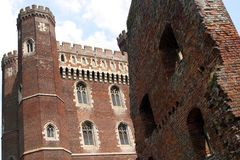Tattershall Castle. Lincolnshire. The great red brick tower at Tattershall reaches a height of 30.5 metres (100ft) and is a prominent feature in the local Stock Images