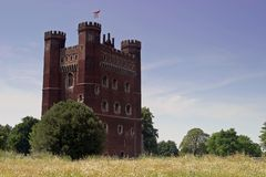 Tattershall Castle. Lincolnshire. The great red brick tower at Tattershall reaches a height of 30.5 metres (100ft) and is a prominent feature in the local Royalty Free Stock Photos