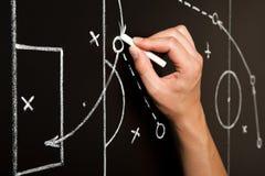 Tattiche del gioco di calcio del disegno della mano Fotografie Stock Libere da Diritti
