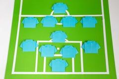Tattiche di formazione di calcio di origami Fotografie Stock Libere da Diritti