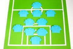 Tattiche di formazione di calcio di origami Fotografia Stock