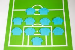 Tattiche di formazione di calcio di origami Fotografie Stock