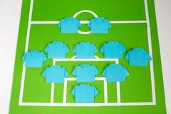 Tattiche di formazione di calcio di origami Fotografia Stock Libera da Diritti
