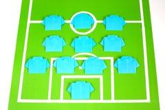 Tattiche di formazione di calcio di origami Immagini Stock Libere da Diritti