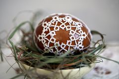 Tatting Easter eggs royalty free stock photography