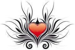 Tatto del cuore di giorno del biglietto di S. Valentino astratto illustrazione vettoriale