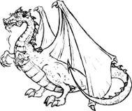 Tatto di un drago nero Fotografia Stock